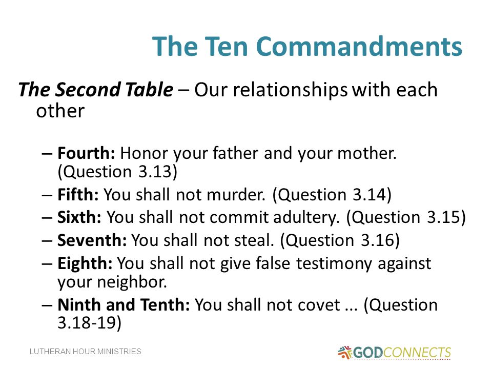 The Ten Commandments The Second Table – Our relationships with each other. Fourth: Honor your father and your mother. (Question 3.13)