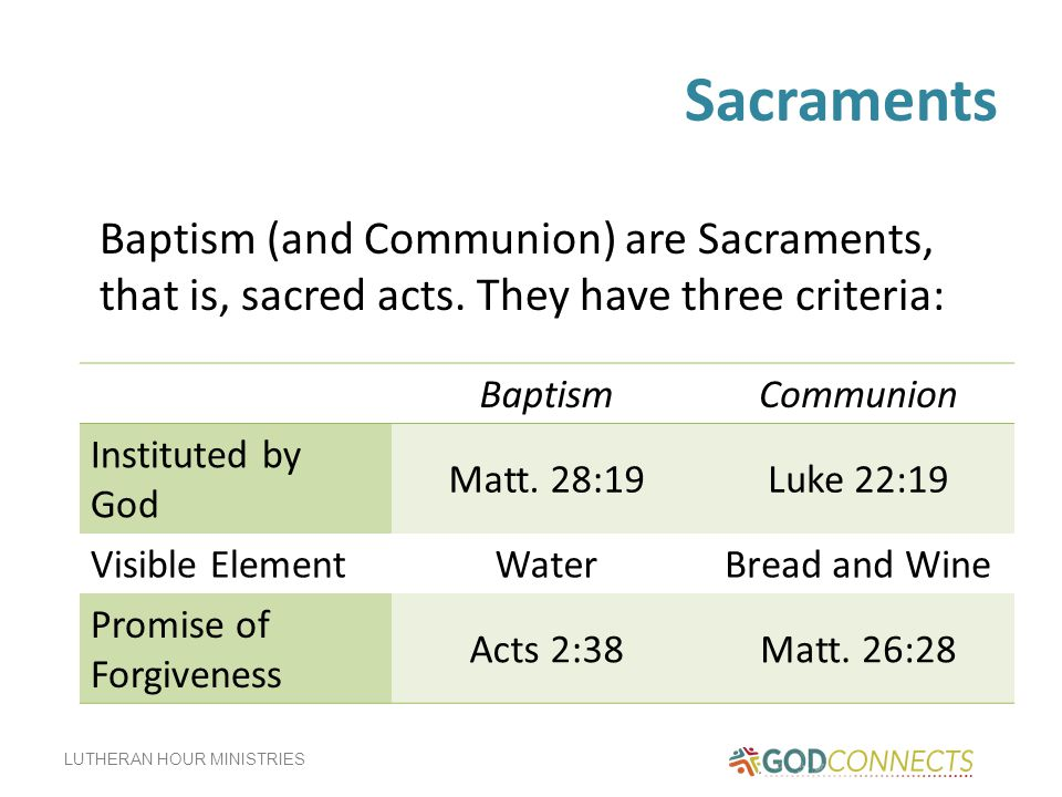 Sacraments Baptism (and Communion) are Sacraments, that is, sacred acts. They have three criteria: Baptism.