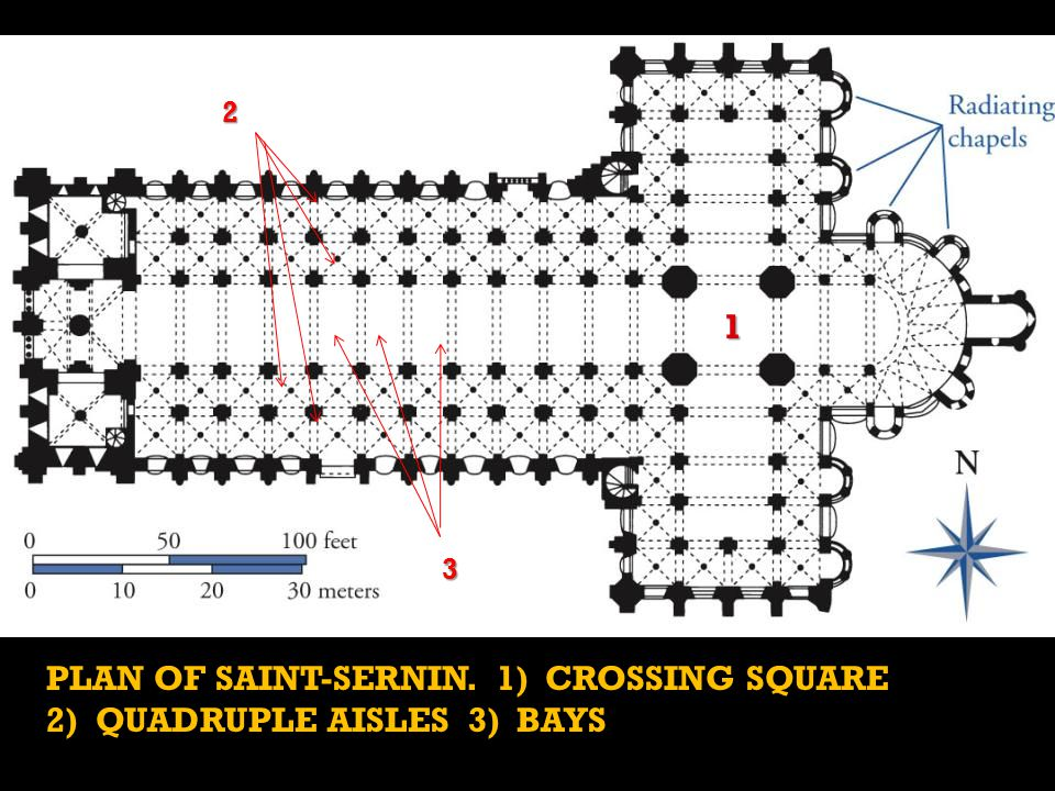 PLAN OF SAINT-SERNIN. 1) CROSSING SQUARE 2) QUADRUPLE AISLES 3) BAYS