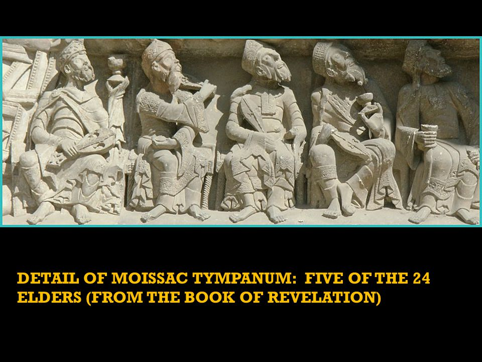 DETAIL OF MOISSAC TYMPANUM: FIVE OF THE 24 ELDERS (FROM THE BOOK OF REVELATION)