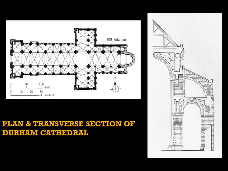 Plan & transverse section of Durham Cathedral