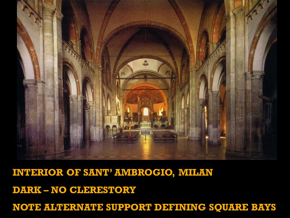 Interior of Sant' Ambrogio, milan Dark – no clerestory