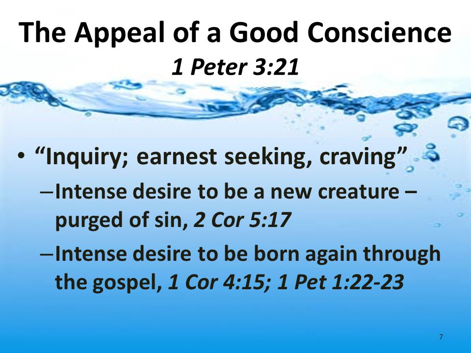 The Appeal of a Good Conscience 1 Peter 3:21