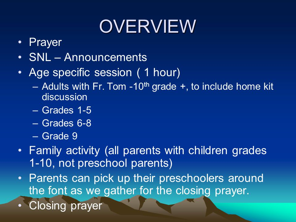 OVERVIEW Prayer SNL – Announcements Age specific session ( 1 hour)
