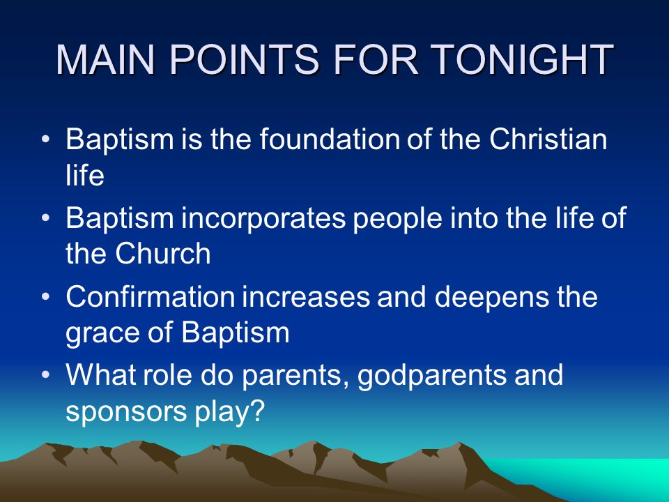 MAIN POINTS FOR TONIGHT