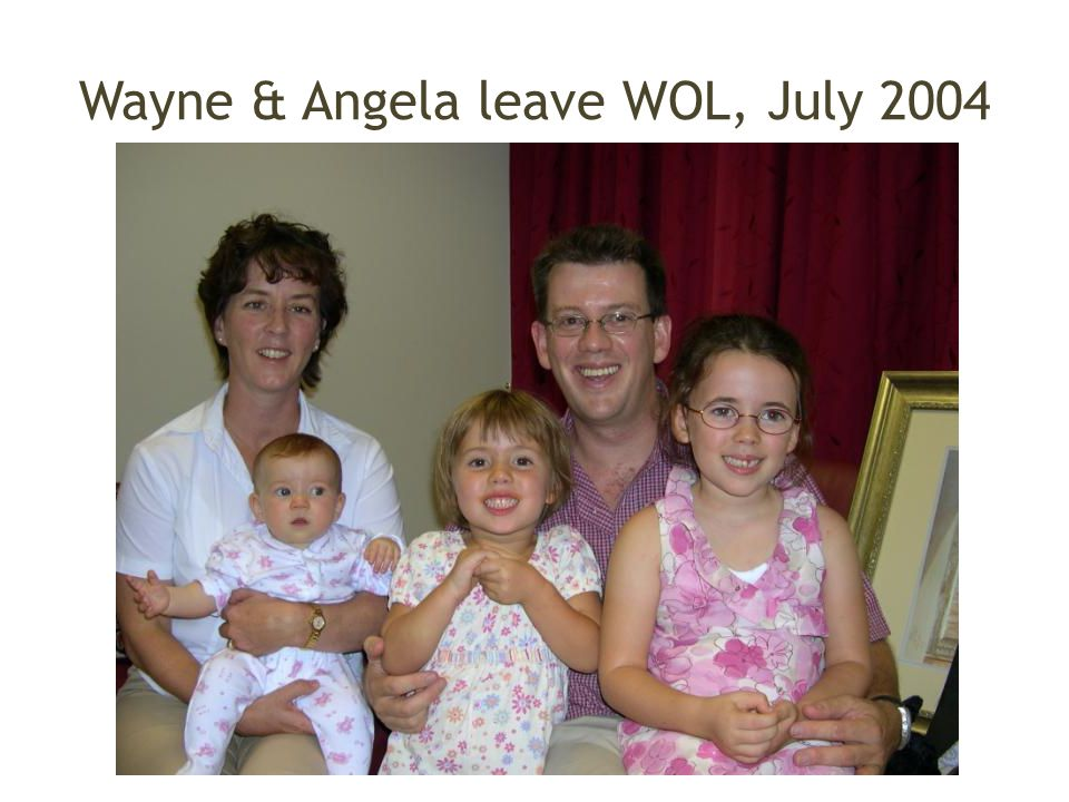Wayne & Angela leave WOL, July 2004