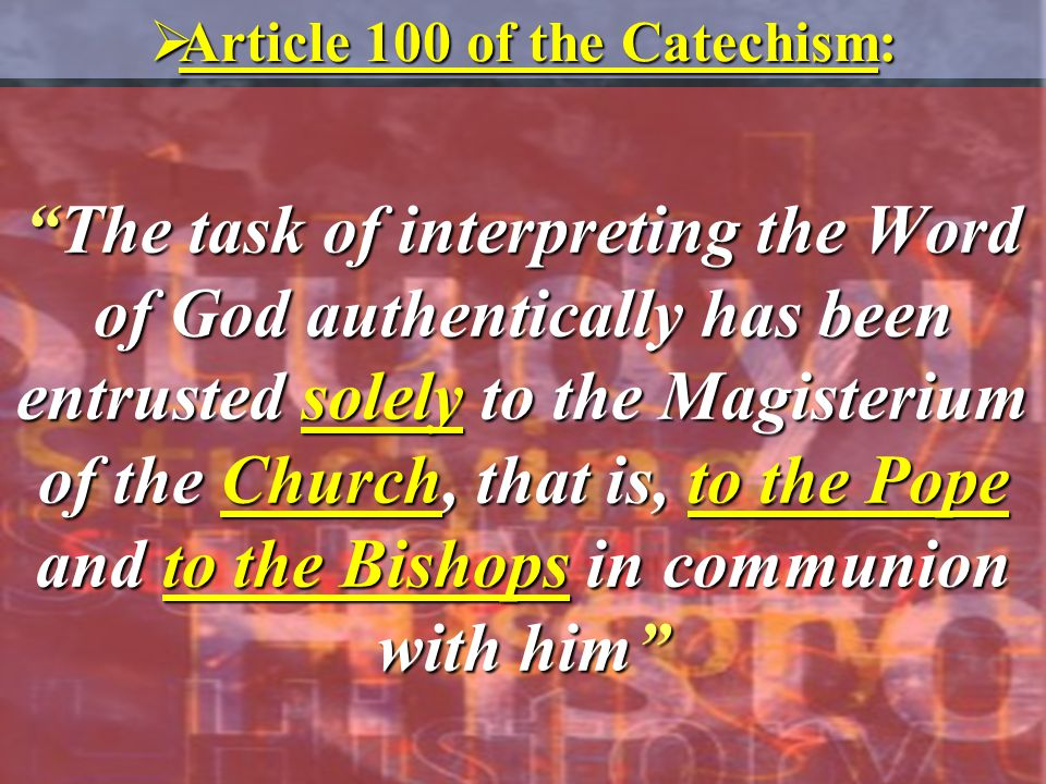 Article 100 of the Catechism: