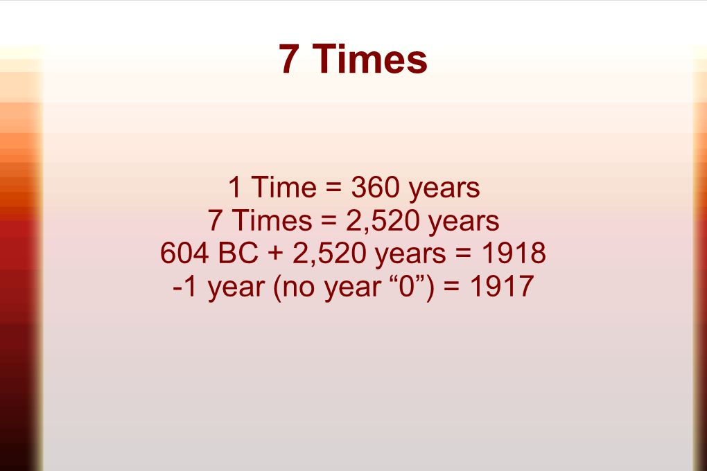 7 Times 1 Time = 360 years 7 Times = 2,520 years