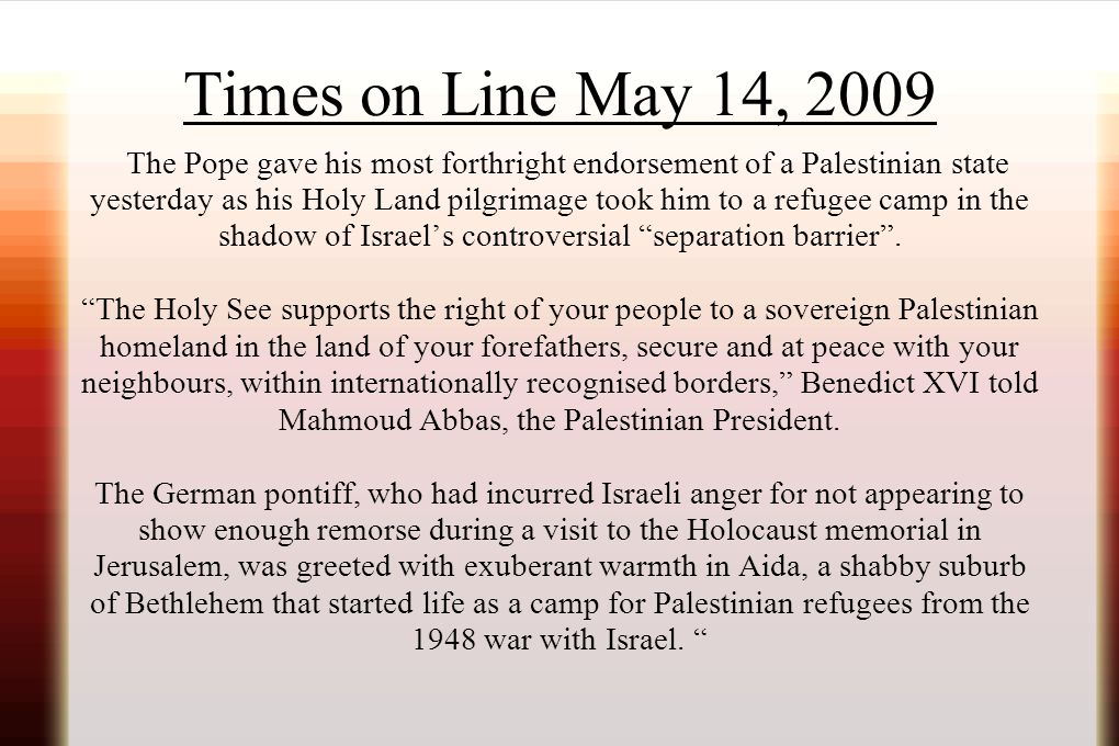 Times on Line May 14, 2009