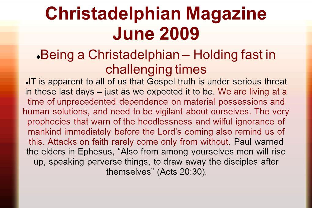 Christadelphian Magazine June 2009