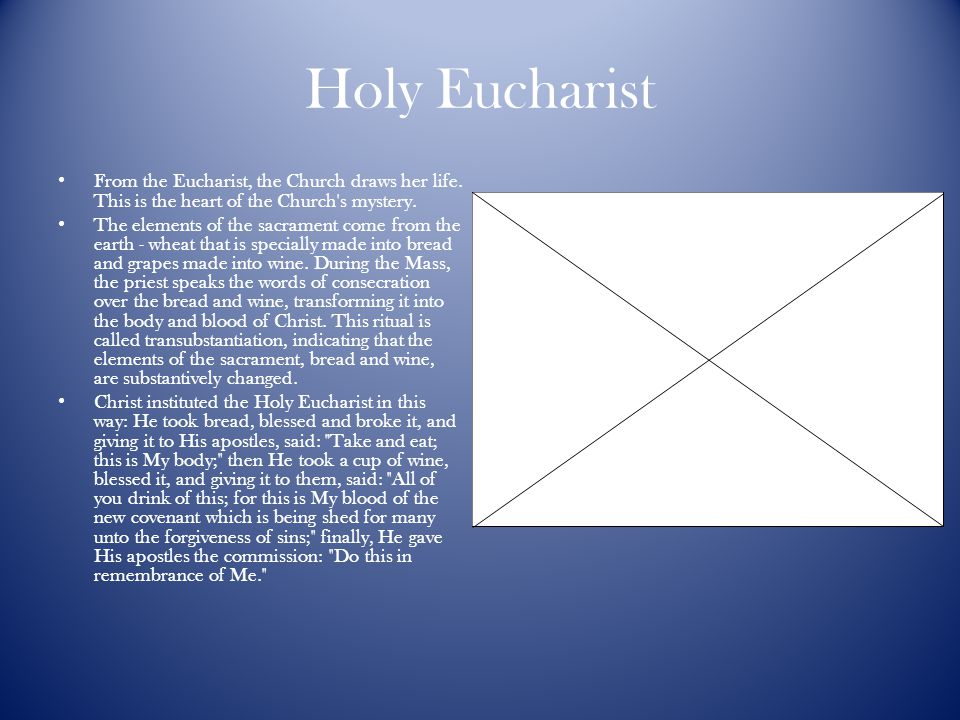 Holy Eucharist From the Eucharist, the Church draws her life. This is the heart of the Church s mystery.
