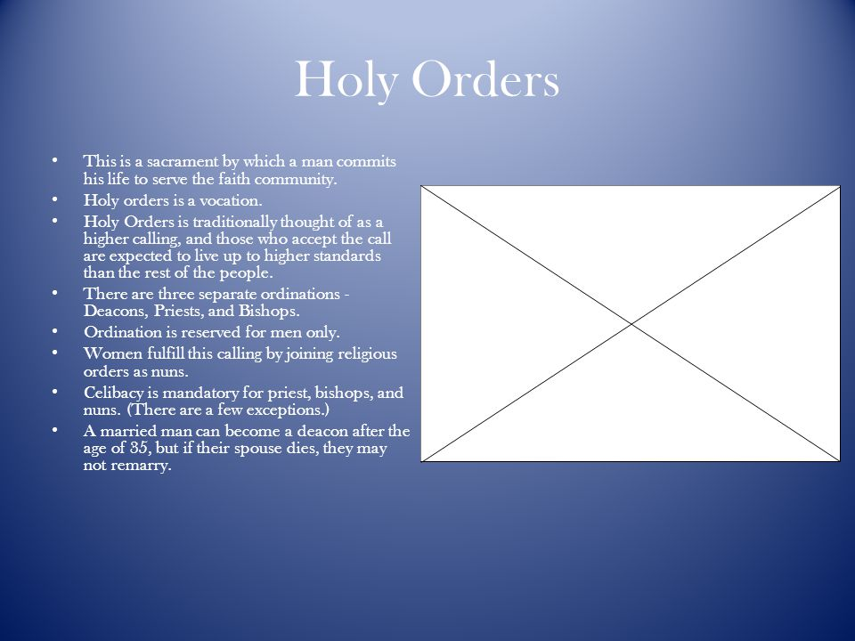 Holy Orders This is a sacrament by which a man commits his life to serve the faith community. Holy orders is a vocation.