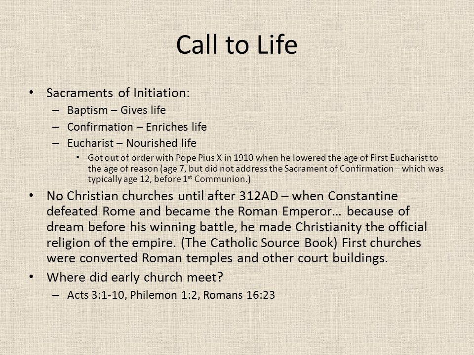 Call to Life Sacraments of Initiation: