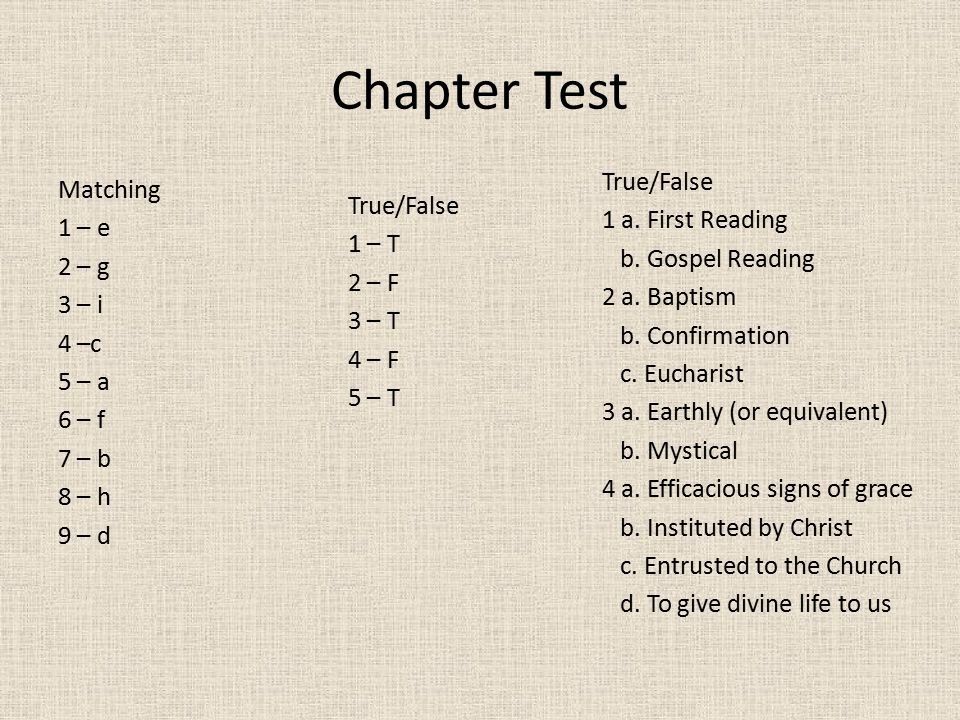 Chapter Test True/False
