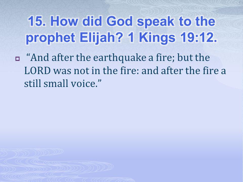 15. How did God speak to the prophet Elijah 1 Kings 19:12.