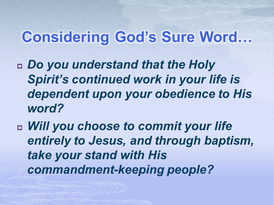 Considering God's Sure Word…