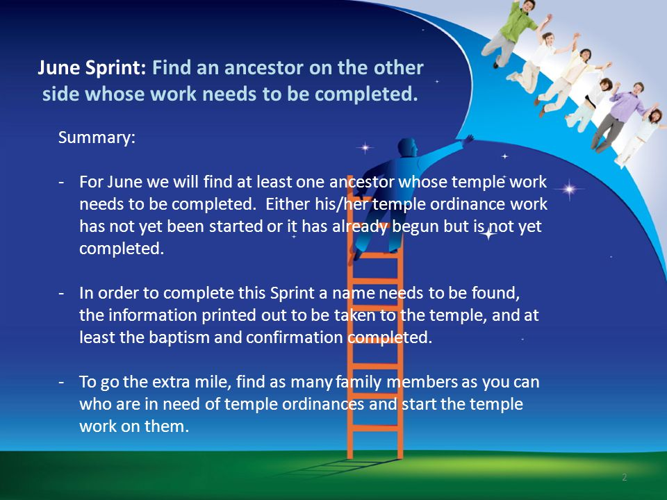 June Sprint: Find an ancestor on the other side whose work needs to be completed.