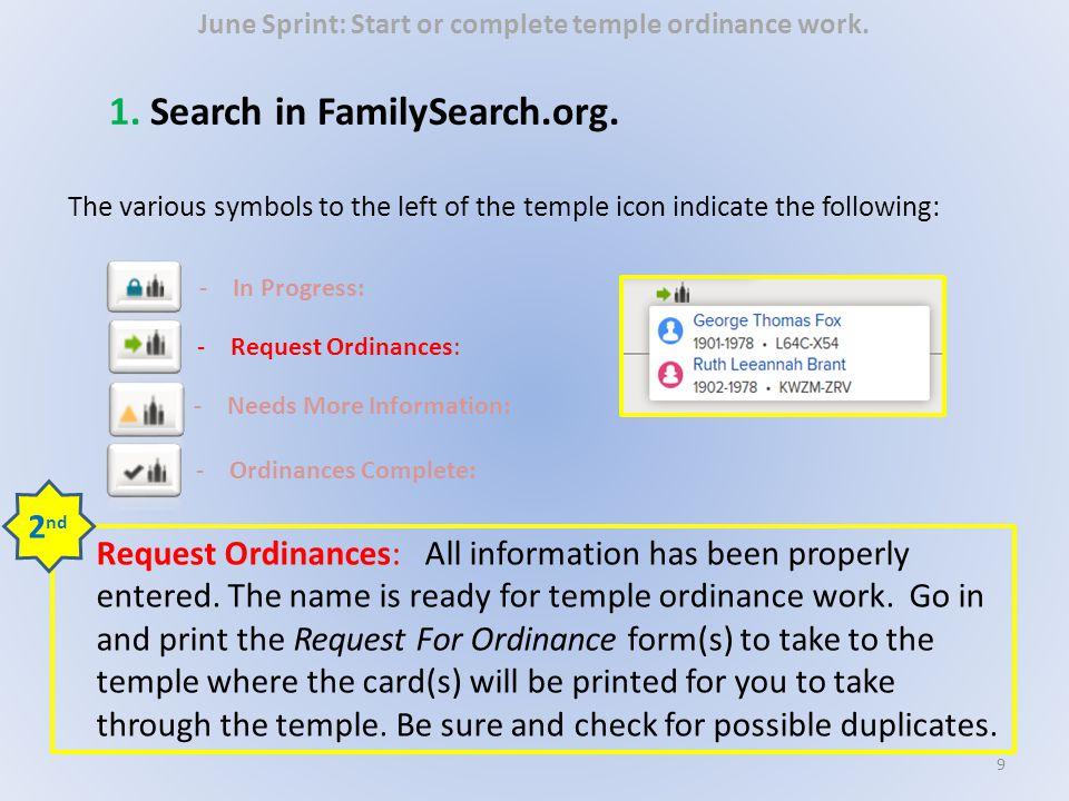June Sprint: Start or complete temple ordinance work.