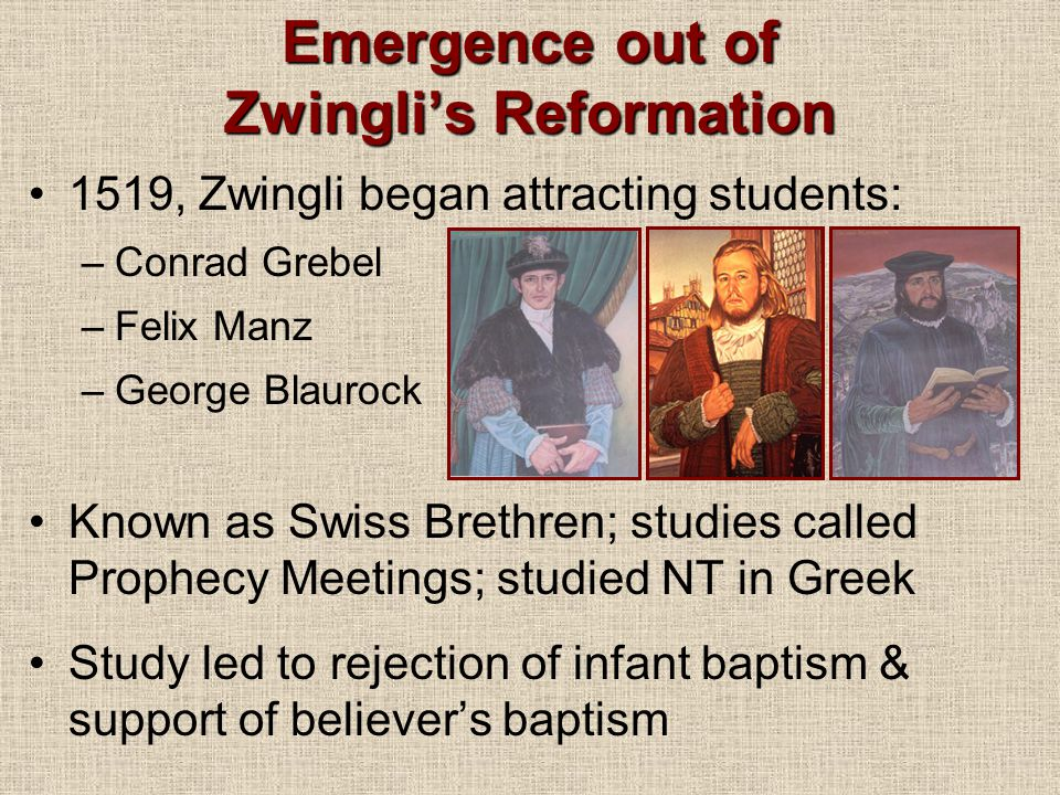 Emergence out of Zwingli's Reformation