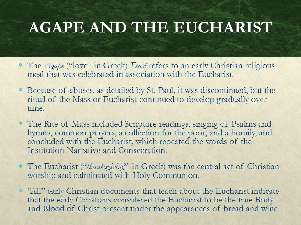 AGAPE AND THE EUCHARIST