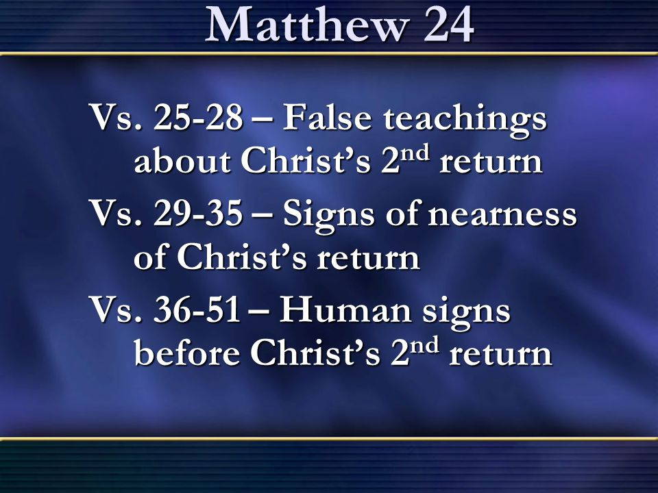 Matthew 24 Vs. 25-28 – False teachings about Christ's 2nd return