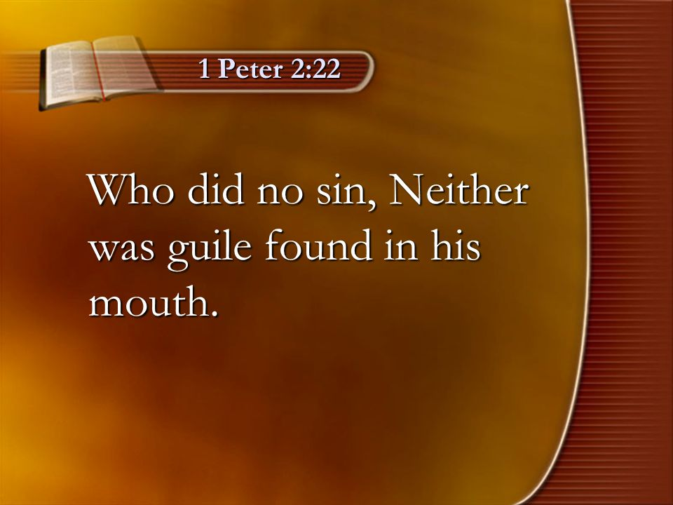 Who did no sin, Neither was guile found in his mouth.