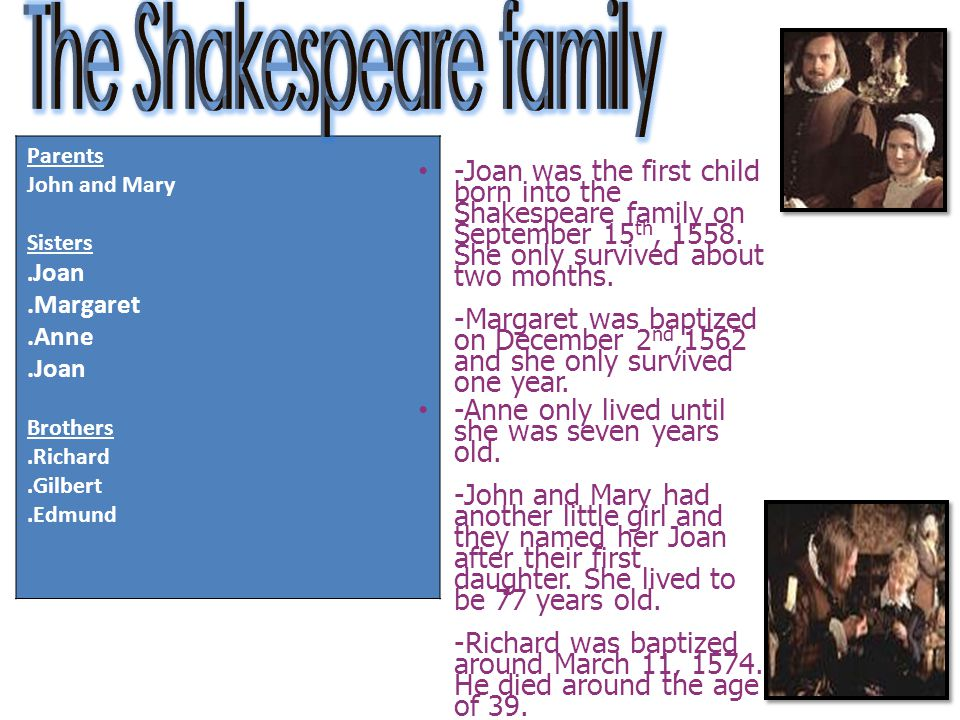 The Shakespeare family