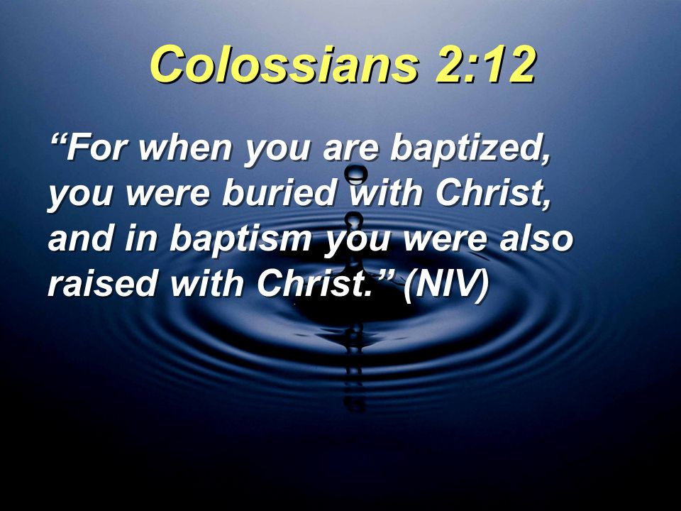 Colossians 2:12 For when you are baptized, you were buried with Christ, and in baptism you were also raised with Christ. (NIV)