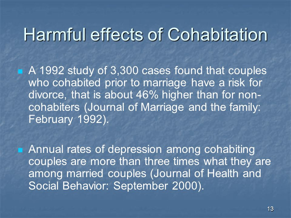 Harmful effects of Cohabitation