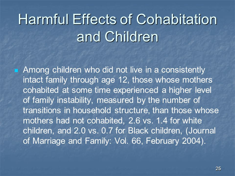 Harmful Effects of Cohabitation and Children