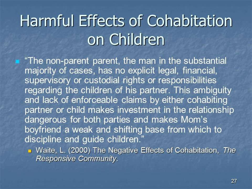 Harmful Effects of Cohabitation on Children