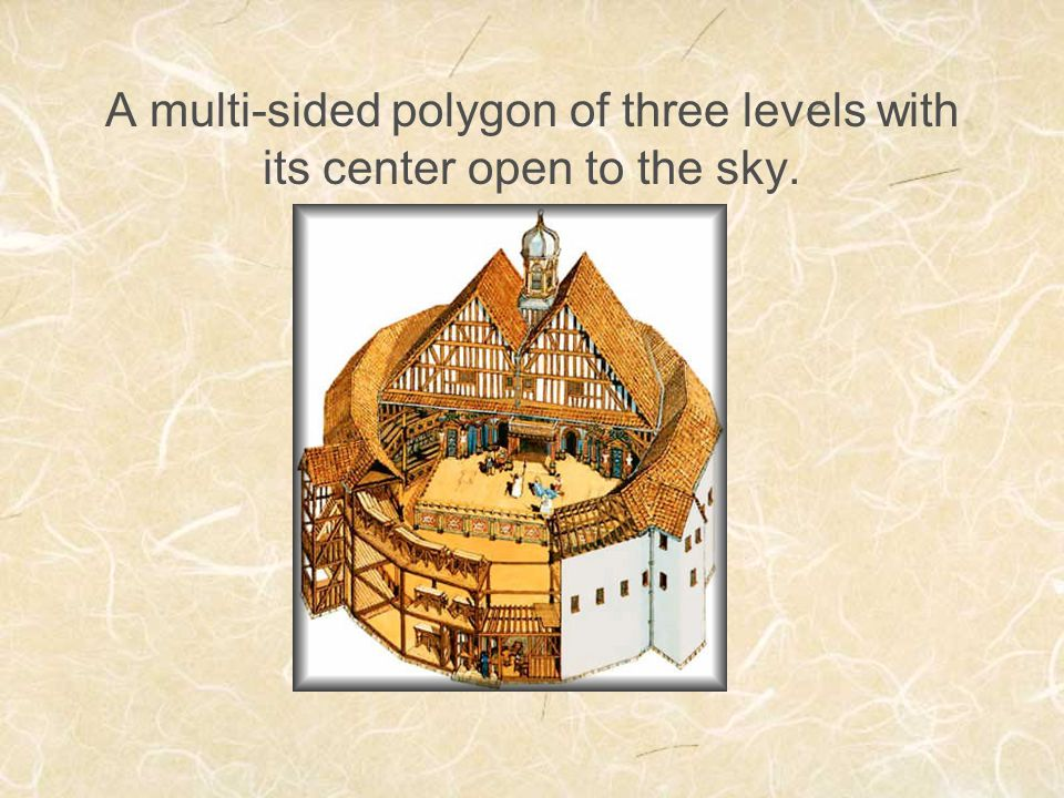 A multi-sided polygon of three levels with its center open to the sky.