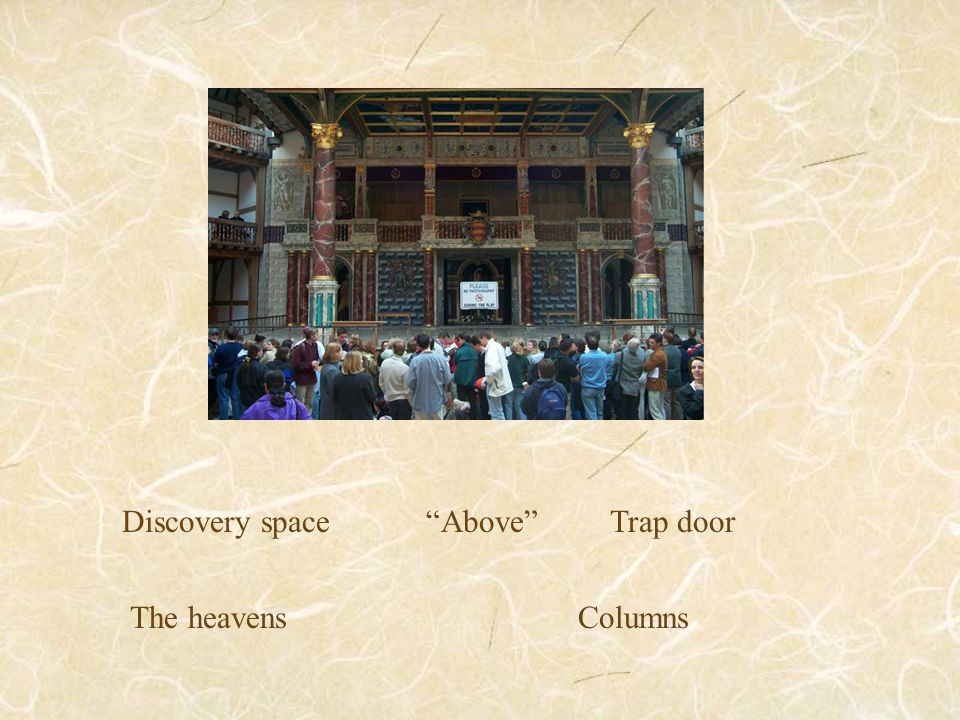 Discovery space Above Trap door The heavens Columns