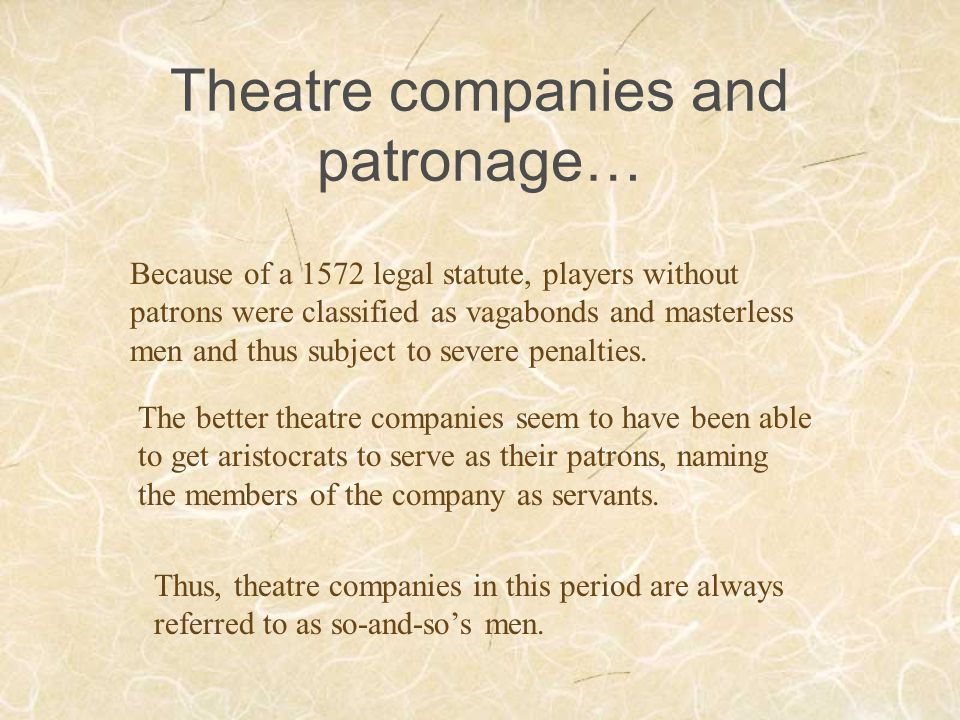 Theatre companies and patronage…