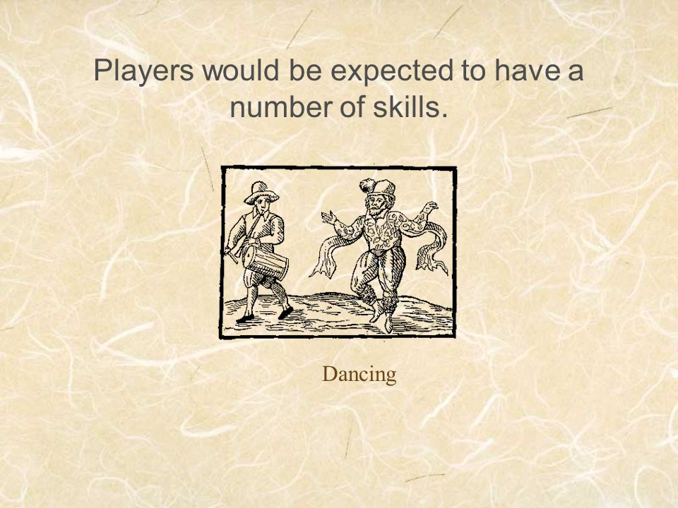 Players would be expected to have a number of skills.