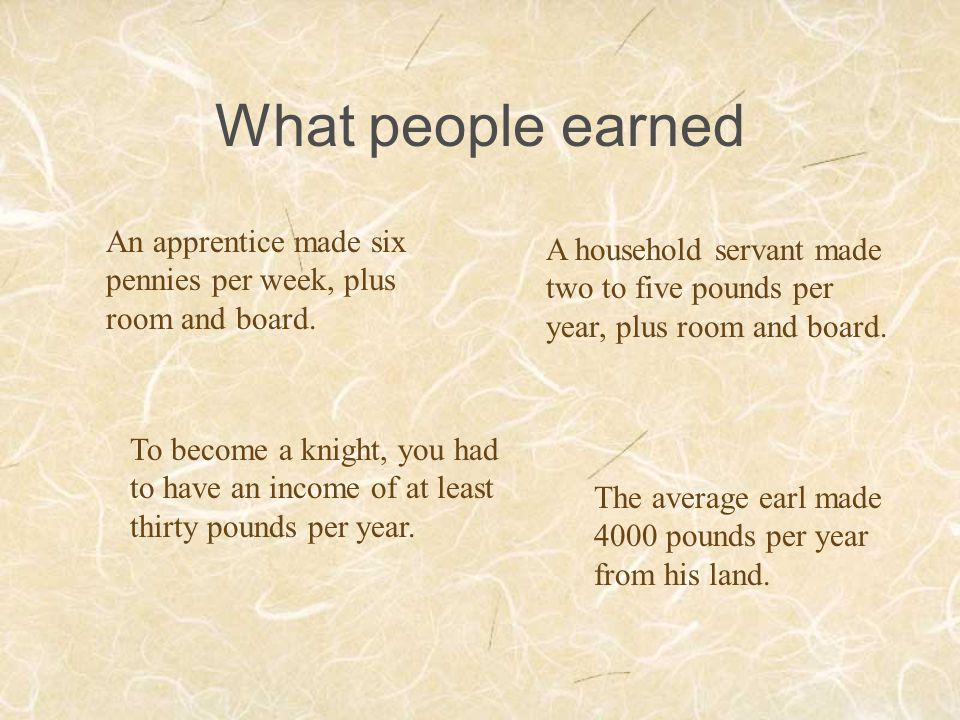 What people earned An apprentice made six pennies per week, plus room and board.