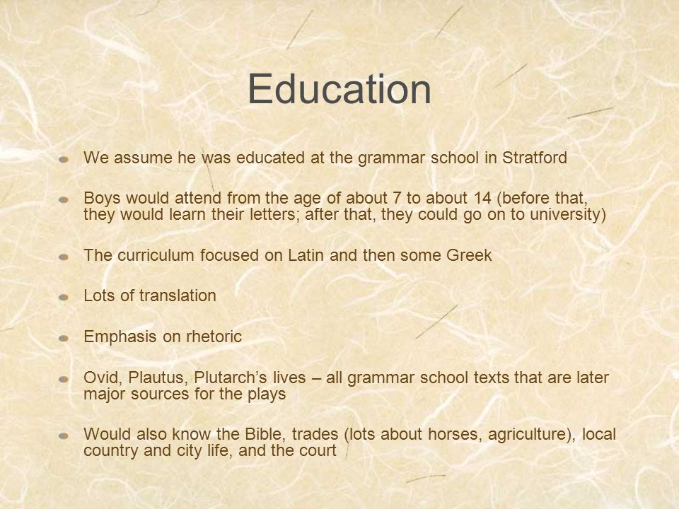 Education We assume he was educated at the grammar school in Stratford