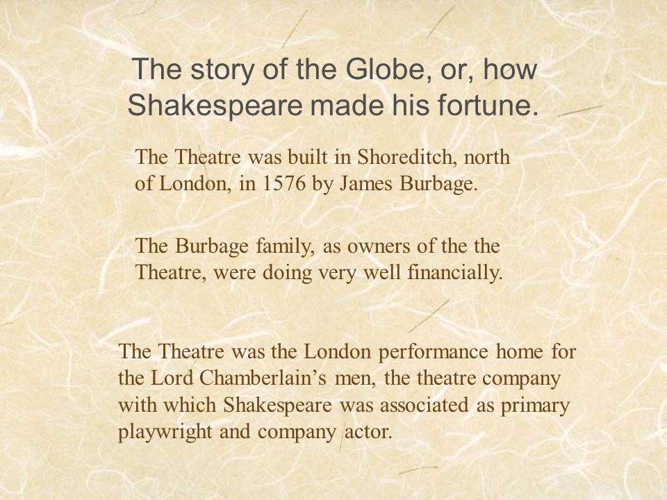 The story of the Globe, or, how Shakespeare made his fortune.