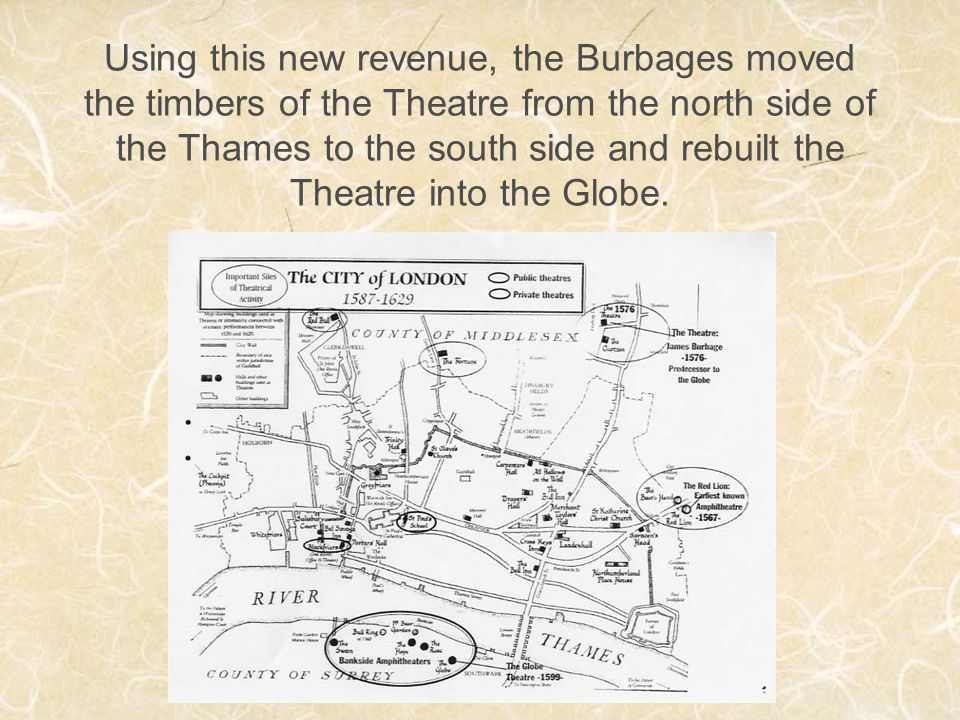 Using this new revenue, the Burbages moved the timbers of the Theatre from the north side of the Thames to the south side and rebuilt the Theatre into the Globe.