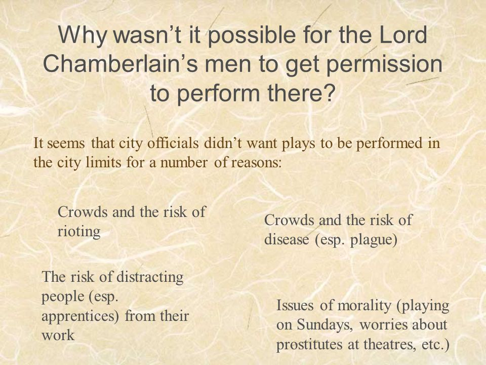 Why wasn't it possible for the Lord Chamberlain's men to get permission to perform there