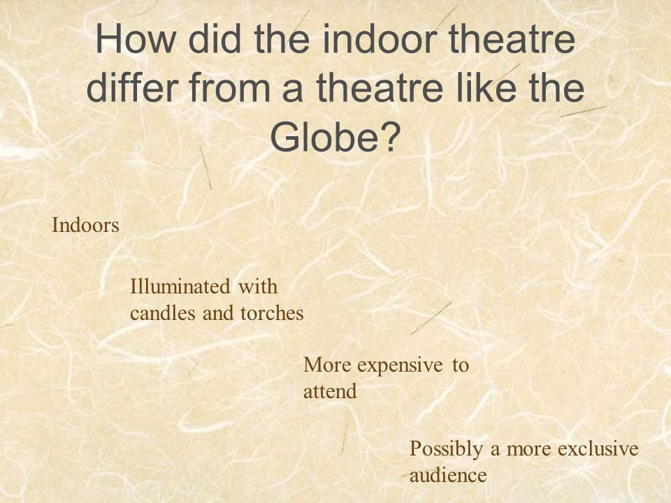How did the indoor theatre differ from a theatre like the Globe