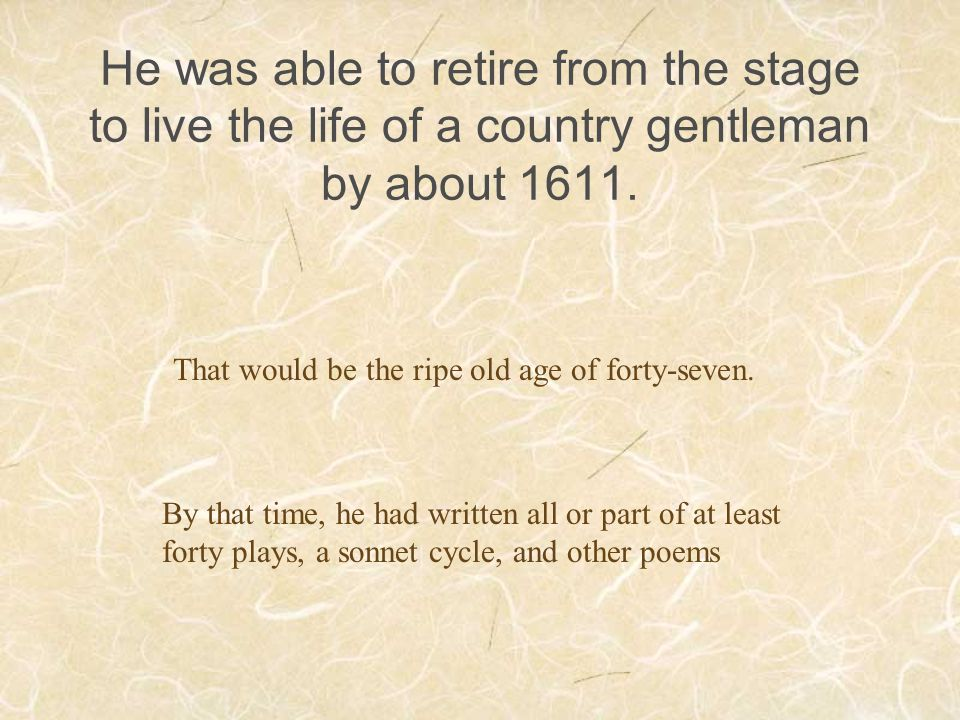 That would be the ripe old age of forty-seven.