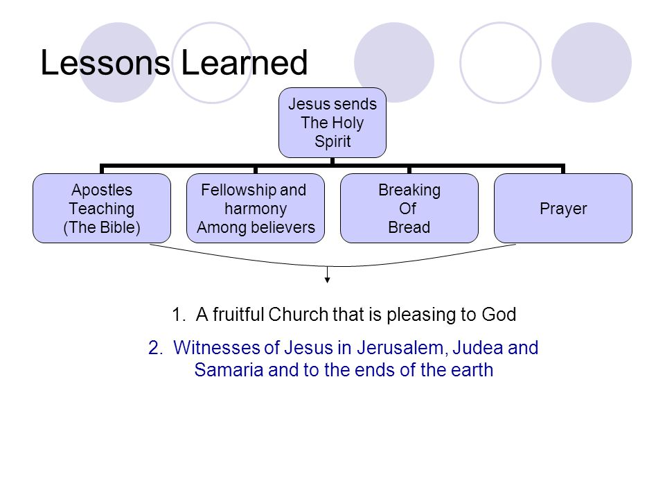Lessons Learned A fruitful Church that is pleasing to God