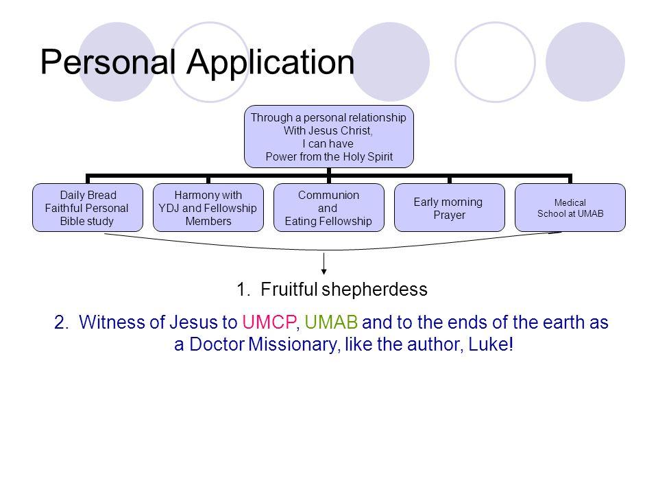 Personal Application Fruitful shepherdess