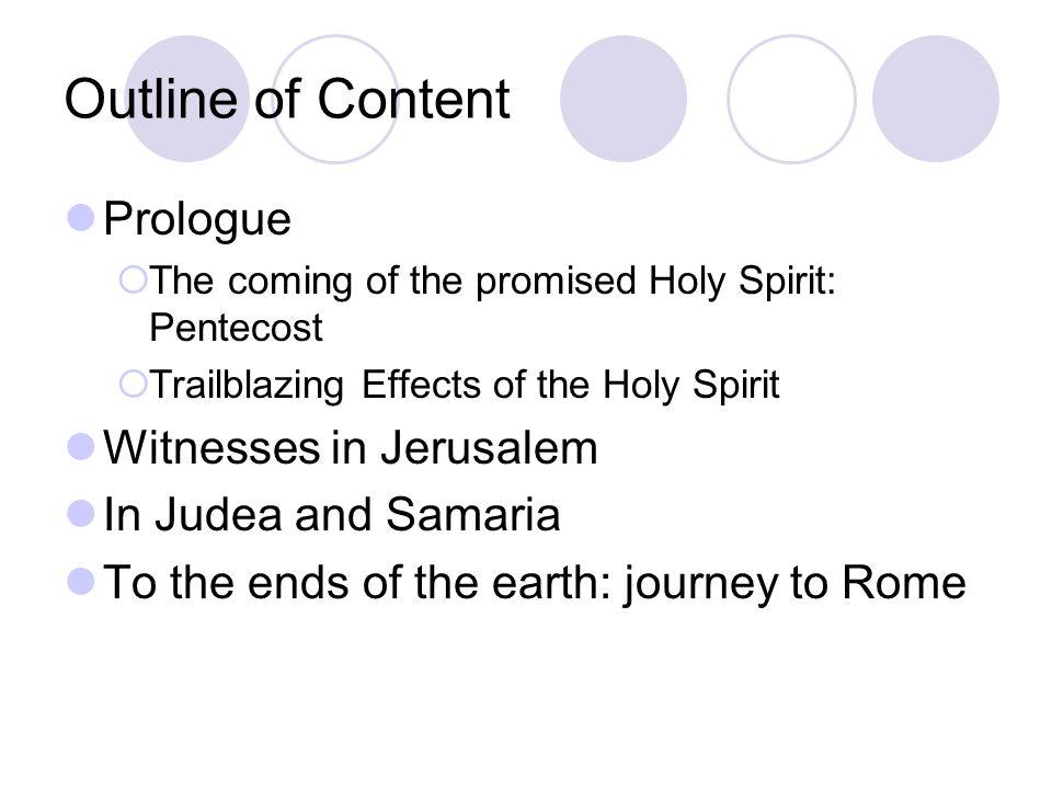 Outline of Content Prologue Witnesses in Jerusalem