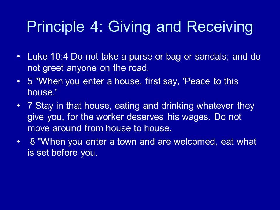 Principle 4: Giving and Receiving