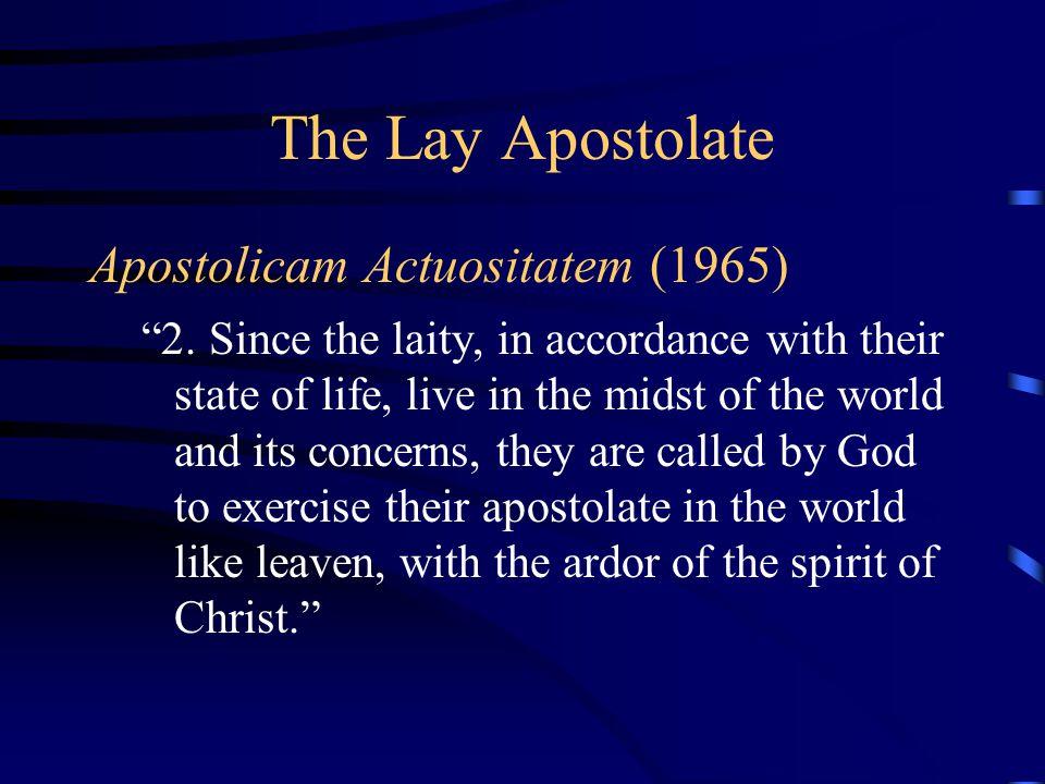The Lay Apostolate Apostolicam Actuositatem (1965)
