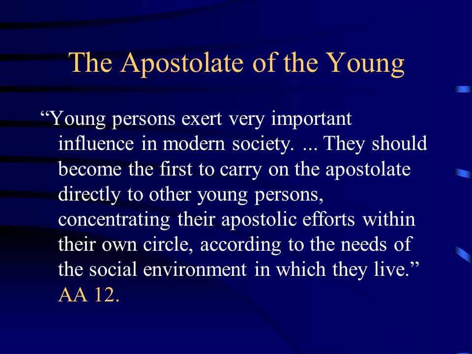 The Apostolate of the Young