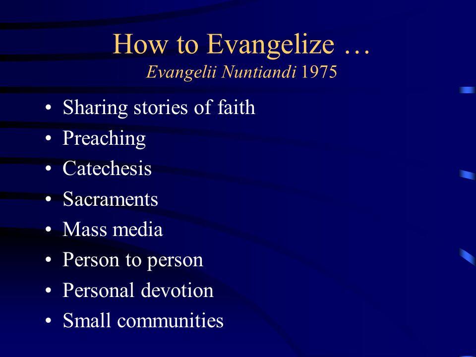 How to Evangelize … Evangelii Nuntiandi 1975