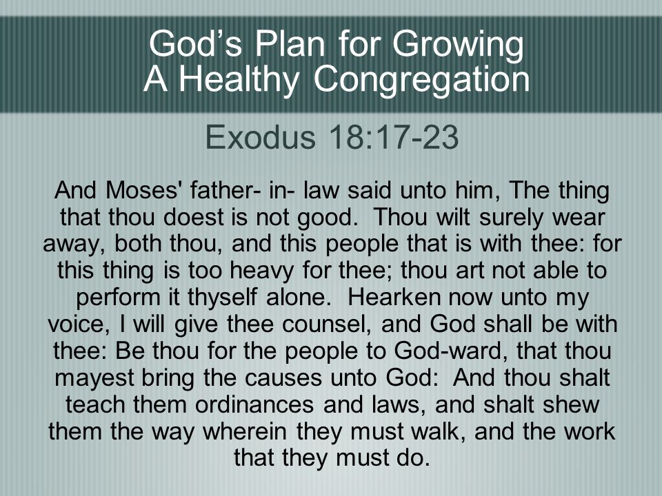 God's Plan for Growing A Healthy Congregation